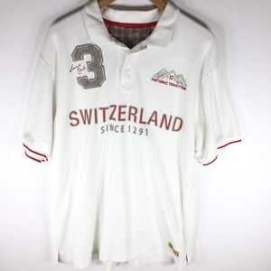 Switzerland White Red Polo XXL Men's Embroidered